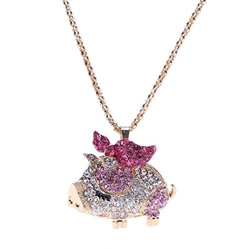 Domybest Frauen Vergoldet Schöne Kristall Schwein Gliederkette Anhänger Halskette (Rose - Schwein-anhänger-halskette