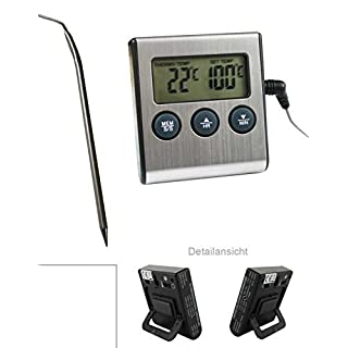 Digital Oven Thermometer with Probe/Heat Resistant up to 250 °C with Alarm and Timer Function, Magnetic, and on/Off Switch and Analogue Thermomete by ARTUROLUDWIG