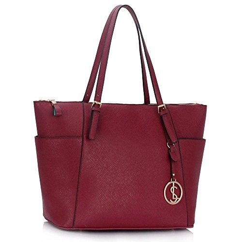 LeahWard® Damen Mode Desinger Qualität Tragetaschen Damen Modisch Schnell verkaufend Handtaschen Große Größe Schultertaschen CWS00350 Burgundy