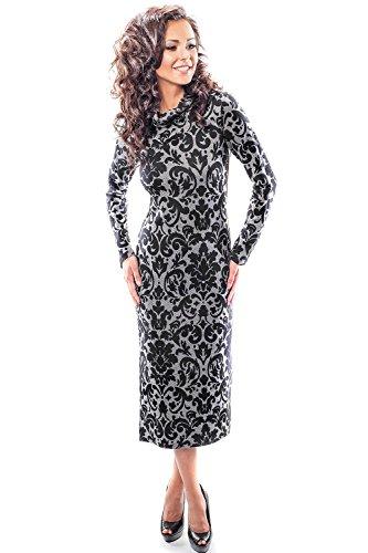 Enny 18013 Glamour Longue Robe Dessein De Mode Noir