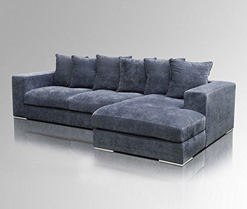 Amaris Elements | 'Moore' Ecksofa Länge 295cm Couch Samt blau grau Stoff Bezug Sitz - Garnitur Wohnlandschaft Eckgarnitur