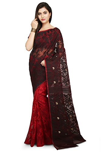 WoodenTant Dhakai Jamdani Handloom Saree In Black and Red.