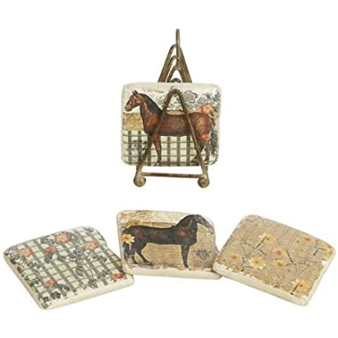 Creative Co-op Shabby Chic Le Cheval (Horse) Et La Rose Coasters with Metal Stand, Set of 5 by Creative Co-op