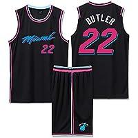 Conjunto de Pantalones Cortos de Baloncesto para niños 22# Jimmy Butler, niños y Adolescentes, Conjunto clásico sin Mangas de Regalo, Pantalones Cortos de Entrenamiento para Hombres (D,S)