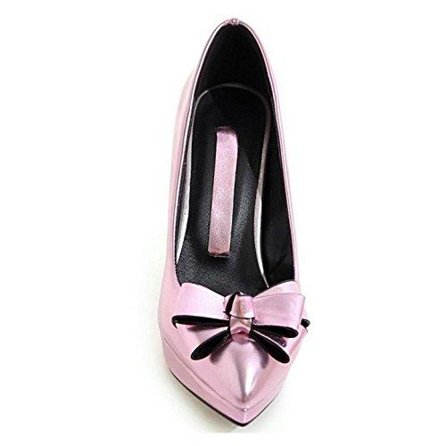 TAOFFEN Damen Einfach Trichterabsatz Schlupfschuhe Plateau High Heel Pumps Mit Bogen Pink