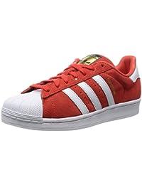 adidas Originals Superstar Suede Zapatillas Sneakers Cuero Gamuza Rojo para Unisex