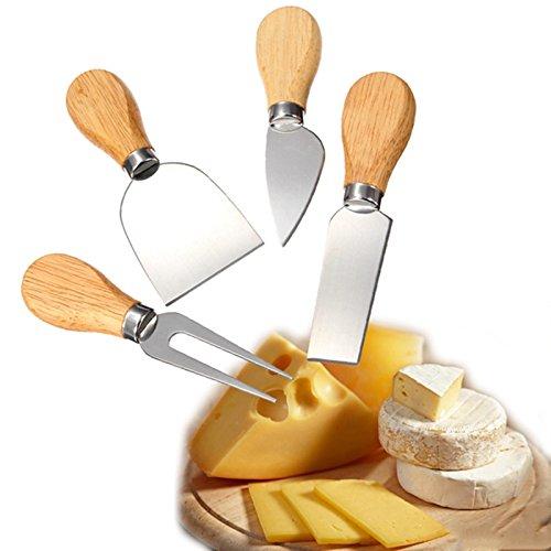 Preisvergleich Produktbild ETGtek 4 Stück Edelstahl Holzgriff Weinkäsemesser-Set mit Semi-Herz-Messer für die Verbreitung von Käse