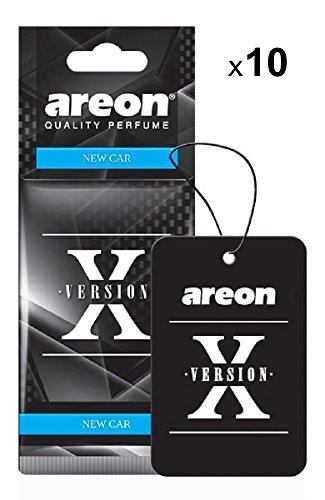 AREON X Profumo Auto Nuova New Car Deodorante Originali Da Appendere Nero Pendente Specchietto Retrovisore Cartoni 2D Casa Set (Pack x 10)