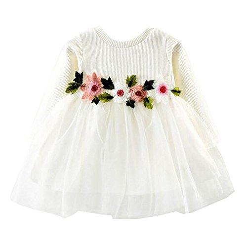 Mädchen Prinzessin Kleid, Baby Mädchen Langarm Brautkleid 0-24 Monate Kleinkind Kinder Kleidung...