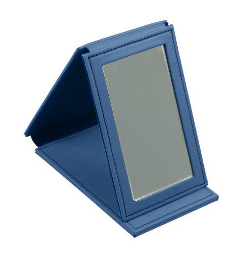 Lucrin Trousse à Maquillage Miroir Rectangulaire de Poche Cuir Vachette Lisse 11 cm Bleu (Bleu Roi) PM1095_VCLS_BLR