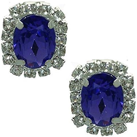 Stunning Argento Ametista cristallo Messaggio Orecchini