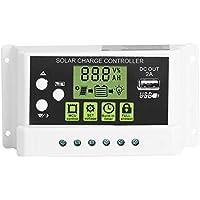 Akozon Panel solar Controlador de carga PWM Controlador inteligente de carga solar Regulador Salida USB 12V 24V 10/20 / 30A Pantalla LCD (KYZ-20A)