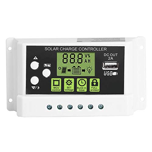Akozon Solar Panel Laderegler PWM Intelligente Solar Laderegler Regler LCD Anzeige USB Ausgang 12 V 24 V 10/20 / 30A LCD Anzeige(KYZ-20A)