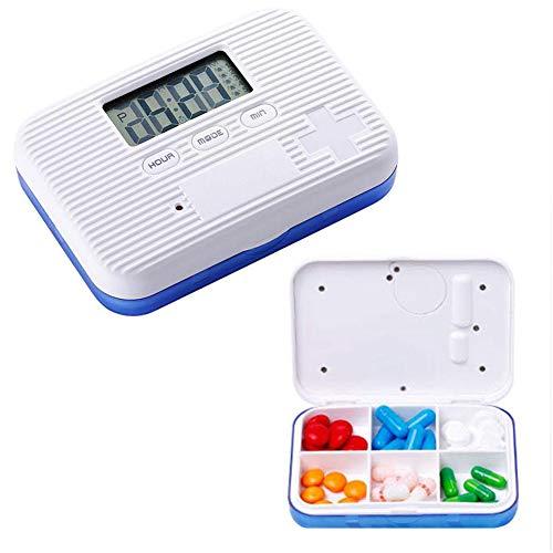 BOYI Elektronische Pille Erinnerung Mit 5 Alarm Pro Tag Medikamentenerinnerung Pillendose Mit Alarm Tablettendose,Blue