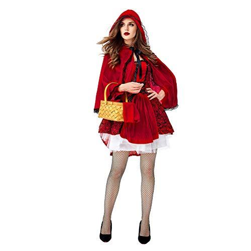 POMM WIEN Little Red Riding Hood Kostüm für Frauen Halloween Deluxe Kostüm Set - Rot - (Red Riding Hood Kostüm Frauen)
