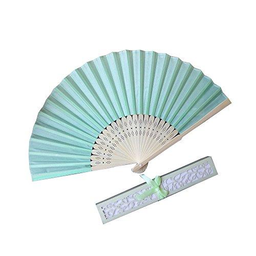 Kviklo Handfächer Seide Fächer Hochzeit Party Orient Kostüm Favors Folding Chinesisch/Japanisch Requisiten-Geschenk Openwork Boxed(Blau,21cm)