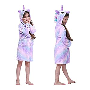 Shopping cart Niñas con Capucha Albornoz Pijamas Kid Unicornio Albornoz niñas Bata camisón de Franela Suave paño Grueso… 5