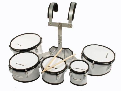 Marching Drum SET 5 Trommeln mit Tragegestell weiß