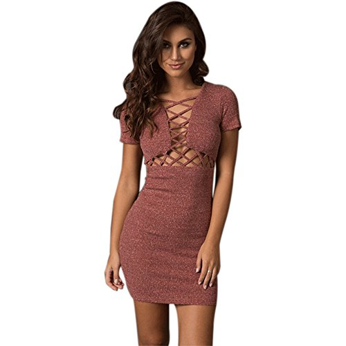 Onceal Frauen Sexy Kurzarm Stricken Schlank Hohl Verband Pullover Kleid Minikleid Valentinstag Urlaub Kleid (M, rot)