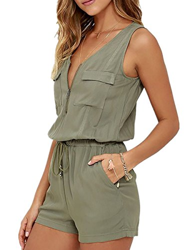 Ninimour Womens Casual Jumpsuit Drawstring Waist Rompers Shorts Loose Playsuits Army green XL