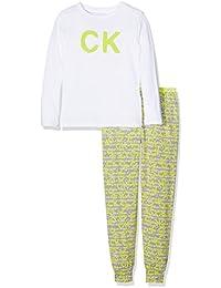 Calvin Klein Ck Id Knit Pj Set (L/S+Pant), Pantalones de Pijama para Niñas