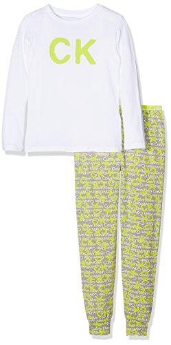 Calvin Klein Mädchen Schlafanzughose CK ID Knit PJ Set (L/S+Pant) Mehrfarbig (White W/ Ck Spray Logo Medium Grey 107), 128 (Herstellergröße: 8-10) (Pant Logo-pj)