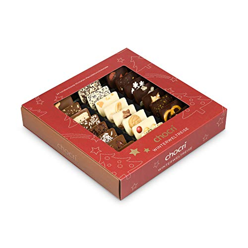 """chocri """"Winterweltreise"""" - 24 Schokoladen-Täfelchen in einer Geschenkbox - handbestreut mit winterlichen Zutaten- Fairtrade-Kakao - perfektes Geschenk für Frauen oder als Dankeschön, das passende Weihnachtsgeschenk auch für Firmen - 165g"""