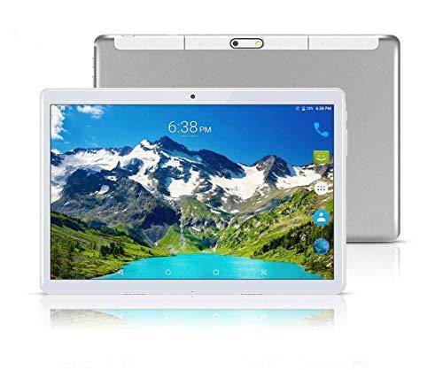 "tablet con sim Tablet Android con doppio slot per schede SIM sbloccato 10.1 ""Schermo in vetro IPS Octa Core 4 GB RAM 64 GB ROM 3G Phablet con WiFi GPS Bluetooth Netflix Google Play (Argento)"