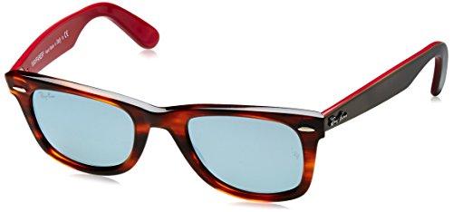 Ray Ban Unisex Sonnenbrille Wayfarer, Mehrfarbig (Gestell: Havana/Grau/Violett-Rot, Gläser: Silber Flash 117830), Medium (Herstellergröße: 50)