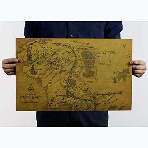 SELUXU Mapa Tierra Media El Señor Anillos Cartel