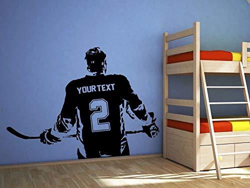 55X80 cm affiche garçons chambre joueur de hockey sur le mur autocollant choisir le nom numéro personnalisé décor à la maison stickers muraux pour chambre d'enfants