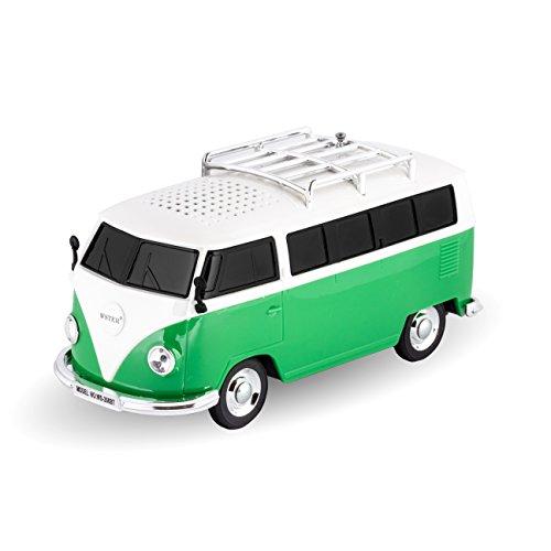 VW T1 Bulli Bus Design in grün - Bluetooth Lautsprecher ca. 20x 8 x 8 cm Stereo Lautsprecher mit Micro SD Kartenslot, Musikbox, Soundstation
