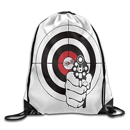 DHNKW Unisex Target Shooting Sport Sketch Print Drawstring Backpack Rucksack Shoulder Bags Gym Bag Sport Bag