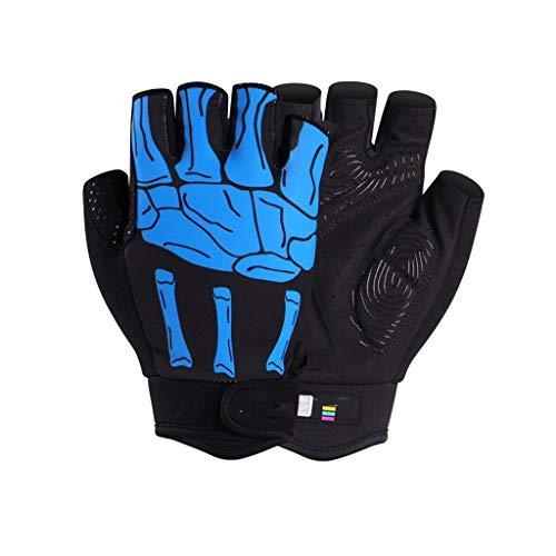 DYHOZZ Outdoor Sportausrüstung/Handschuhe Reithandschuhe/Fahrradhandschuhe/Mountain Road Bike Kurzfingerhandschuhe Handschuhe (Color : Blue, Size : M) (Road-bikes Zum Verkauf)