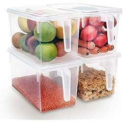Kurtzy Ensemble de 4 Transparent Kitchen Binz boîte de Rangement avec Couvercles - Réfrigérateur et Congélateur de Rangement - Récipients pour Conserver Préparations Alimentaires et Ingrédients