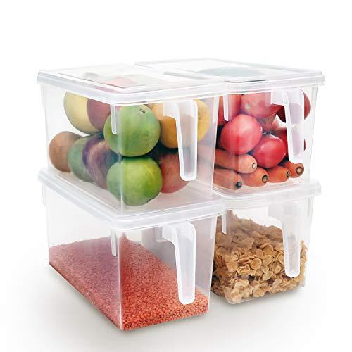 Kurtzy set 4 contenitori per alimenti trasparenti scatola contenitore frigorifero congelatore coperchio - grandi scatole plastica preparazione alimenti, dispensa e frutta, mensola, cassetto