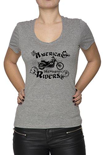 American Riders Donna V-Collo T-shirt Grigio Cotone Maniche Corte Grey Women's V-neck T-shirt