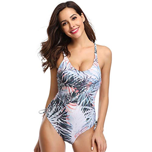 AIni Damen Badeanzug Surfanzug,Einteiler Taille Minimizer V-Ausschnitt Badeanzug Sport Sexy Einteilige Bademode Figurformend Surfen Surfanzug(S,Grau)