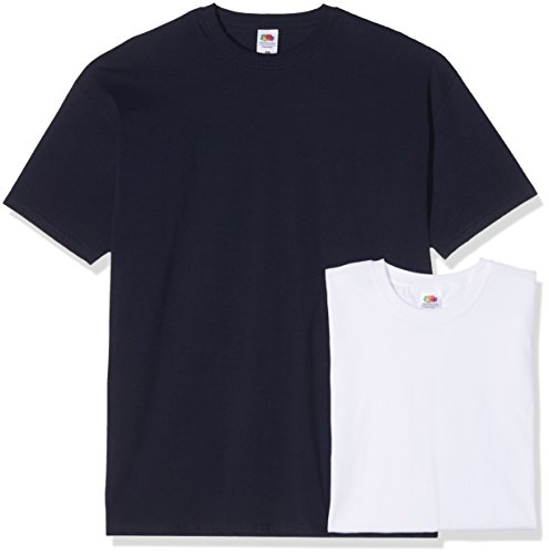 Fruit of the Loom Herren T-Shirt Valueweight T 2er Pack Mehrfarbig (Blau+Schwarz Pack 36)