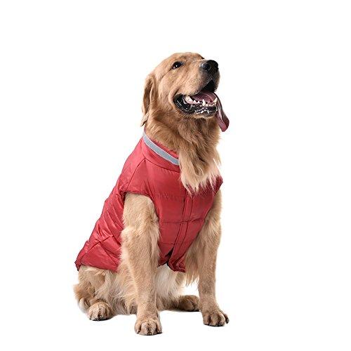 Yunt - giacca a vento invernale per cani di taglia media e grande, colore blu/rosso