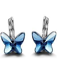 Brilla Cadeaux Fête des Mères SWAROVSKI ELEMENTS Bijoux à la mode boucles d'oreilles 'Butterfly Dream' bleus