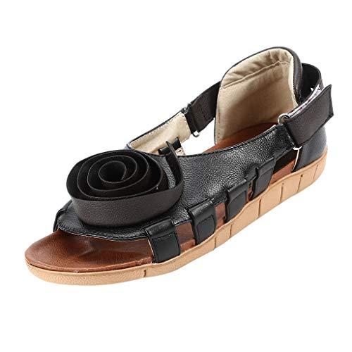 EUCoo_shoes Frauen Sommer flächenSchuhe Retro Blumen atmungsaktive Sandalen ausgesetzt Zehen Boden hohlen Freizeitschuhe (Schwarz, 35-36)