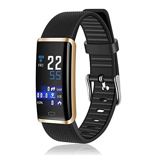 TYWZF Fitness Tracker IP68 Impermeable Banda Inteligente Monitor De Ritmo Cardíaco Presión Arterial Pulsera Inteligente para Hombres Mujeres,Gold