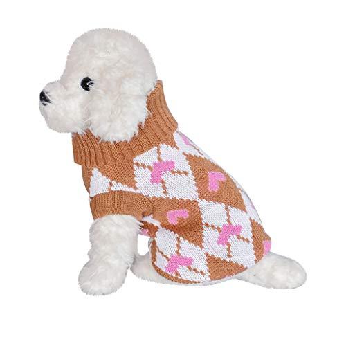 Yowablo Pullover Haustier Hund Katze Winter Warm Rollkragenpulli Herzdruck Kostüm Kleidung (XL,3- Khaki)
