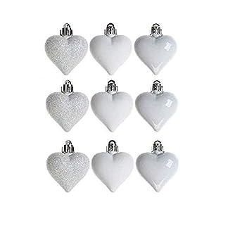 Paquete De 9 – 5cm Baubles Corazón Blanco – Brillante Mate Y Brillo Diseño – Trim De árbol De Navidad