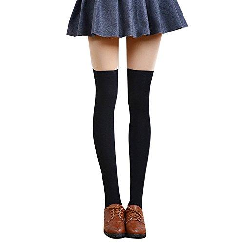 Deloito Damen Sexy Solide Oberschenkel hoch Über das Knie Socken Lange Baumwolle Strümpfe (Schwarz)