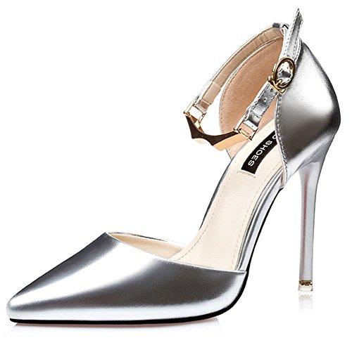 Aisun Damen Elegant Klassisch Spitz Zehen Geschlossen Metall Knöchelriemchen Sandale Silber