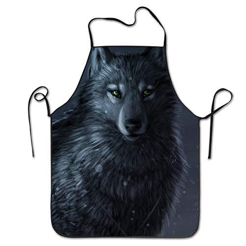 Sie Eigenen Ihren Kostüm Halten Kopf - Moon Wolf Fenrir Tier Lätzchen Lockrand Schürze Männer Frauen Unisex Langlebig Komfortabel Waschbar Zum Kochen Backen Küche Restaurant Basteln Pflegeleicht