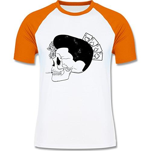 Rockabilly - Rockabilly Schädel - zweifarbiges Baseballshirt für Männer Weiß/Orange