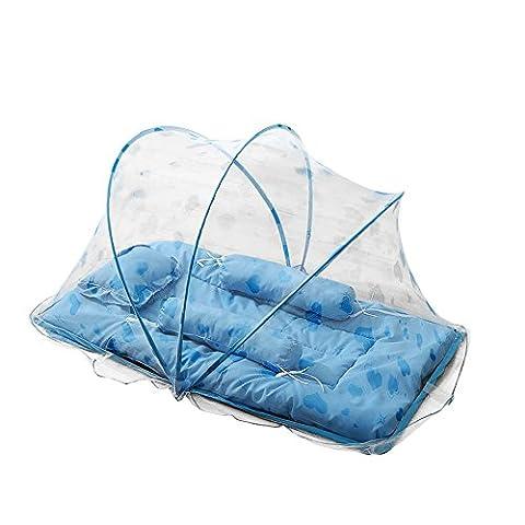 SHOBDW Tente Moustiquaire Bébé Pliant Matelas Mosquito et Oreiller pour Lit de Bébé (Bleu)